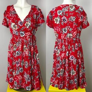 Patrons of Peace • Red Dloral Wrap Dress • Sz S